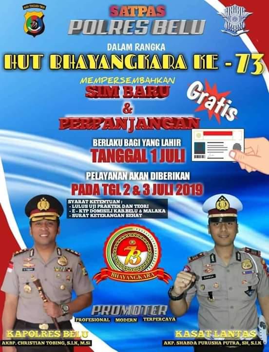 HUT Bhayangkara ke-73, Polres Belu Buat SIM Gratis Bagi Warga Perbatasan - Flobamora News