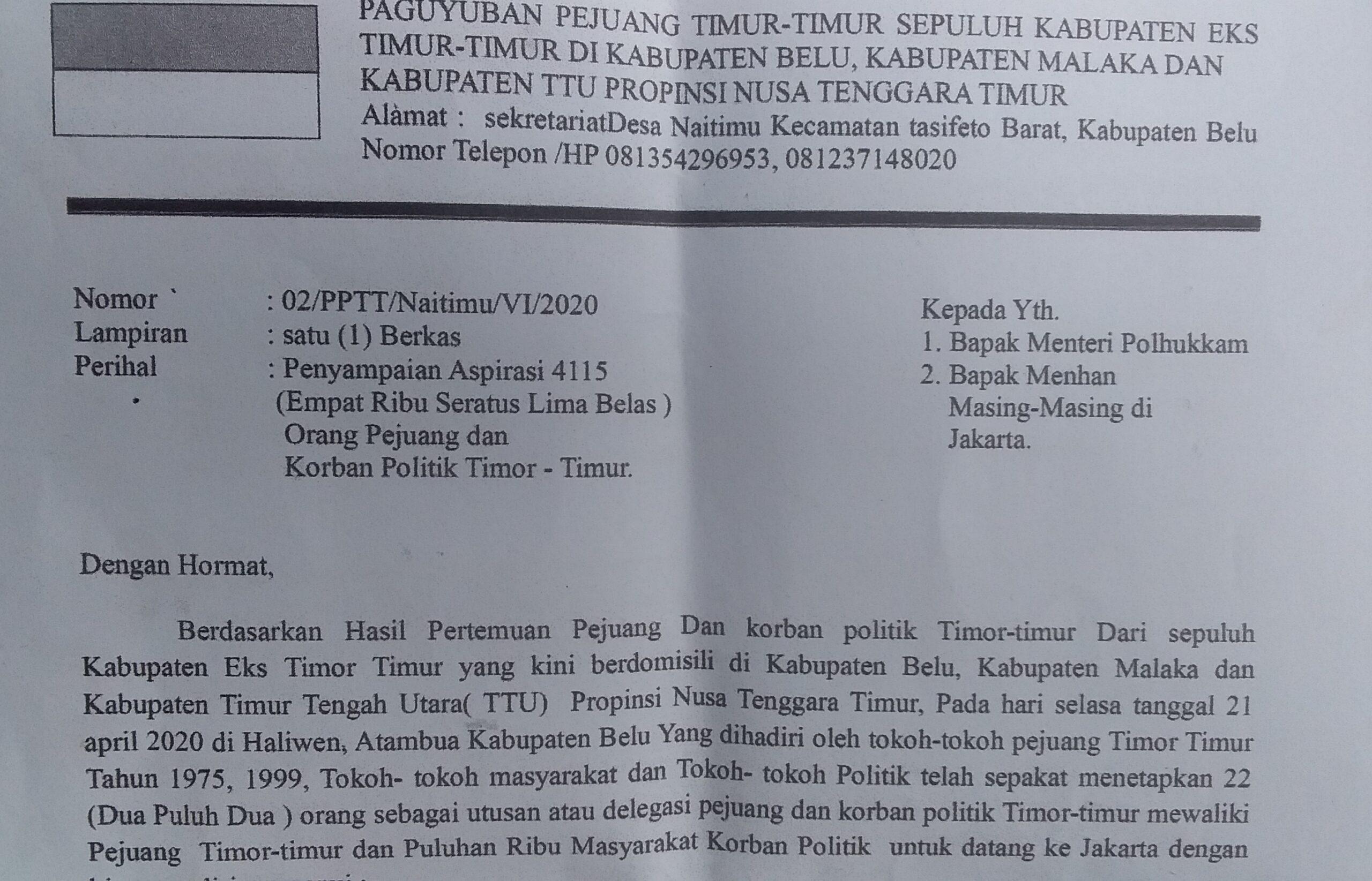 Sepucuk Surat Cinta Pejuang Eks Timor Timur Buat Menkopolhukam Flobamora News